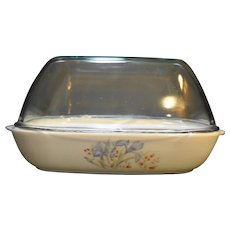 Pyrex Blue Iris England Roaster High Domed Lid