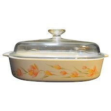 Corning Ware Peach Floral Skillet 2.5 QT Square Casserole Domed Lid A-10-B
