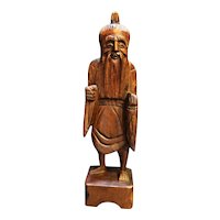 Antique Chinese Immortal Scholar Carved Boxwood Figurine 11 3/4 IN