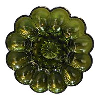 Anchor Hocking Fairfield Avocado Green Glass Egg Plate