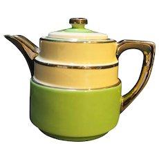 Fraunfelter Art Deco Style Teapot Green White Platinum Trim