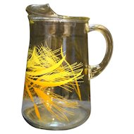 Libbey Wheat Pitcher 1970s-80s Golden Yellow