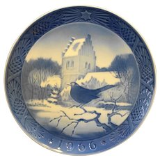 Royal Copenhagen 1966 Christmas Plate Blackbird Church