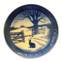 Royal Copenhagen 1971 Hare in Winter Christmas Plate