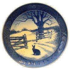 Royal Copenhagen 1971 Hare in Winter Christmas Plate