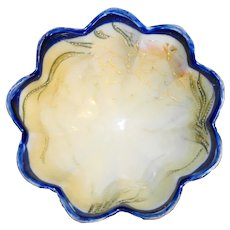 Hand Painted Moriage Nippon Scalloped Candy Nut Bowl Cobalt Trim
