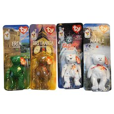Ty Beanie Baby International Britannia Erin Glory Maple The Bear Set of 4 McDonald's Exclusive New In Package With Errors