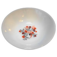 Fire King Primrose Milk Glass Red Flowers Open Round Vegetable Bowl