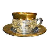 Tiffin Franciscan King's Crown Thumbprint Cup Saucer Gold Trim
