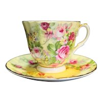 Crown Victorian Staffordshire Bone China England Pink Roses Cup Saucer