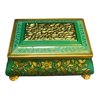Fricke Nacke Western Germany Tin Casket Box Green Gold