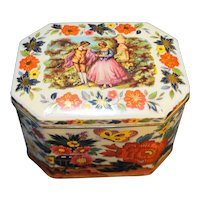 Daher Chinoserie Style Octagon Tin Chrysanthemums Butterflies 1770s Couple