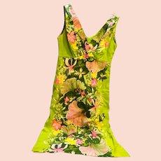 Hawaiian Cotton Barkcloth Floral Dress 1960s-70s Green