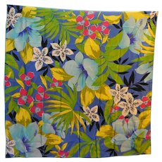 Echo Silk Scarf Tropical Floral Print 34 IN Square
