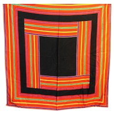 Liz Claiborne Square Stripes Silk Scarf Black Red Purple
