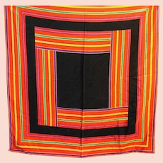 Liz Claiborne Square Stripes Silk Scarf Black Red Purple