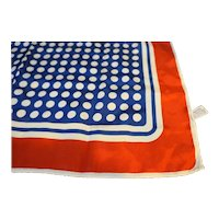 Red White Blue Polka Dot Square Scarf Acetate 22 IN