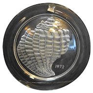 1972 Signed Lalique France CrIstal Glass Annual Plate Coquillage Conch Shell