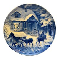 Kaiser W Germany Christmas Plate Silent Night 1971 Cobalt Blue