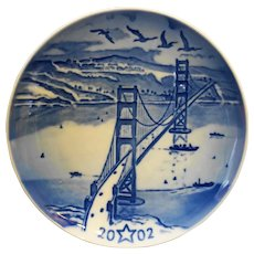 Bing Grondahl Christmas Eve Golden Gate Bridge 2002 American Christmas Plate