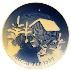 Bing Grondahl Christmas Bird Feeder Plate NIB 1967