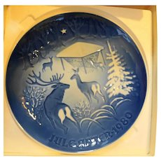 Bing Grondahl 1980 Christmas in the Woods Plate Deer Winter