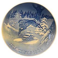 Bing Grondahl Christmas Fir Tree Hare Grantroeet Jule After 1964 Plate