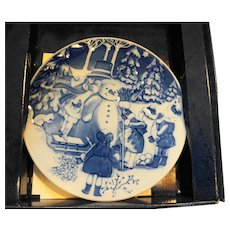 Royal Copenhagen 1999 The Snowman Christmas Plate NIB