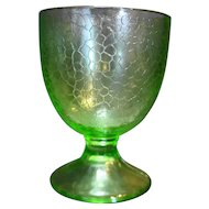 Smith McKee By Cracky Crackle Glass Green Depression Wine
