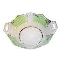Art Deco Reverse Painted Paneled Depression Glass Bowl Cambridge Decagon