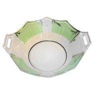 Art Deco Reverse Painted Paneled Depression Glass Bowl Cambridge Decagon