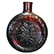 Wheaton Christmas Holly Ruby Red Glass Decanter Bottle 1973