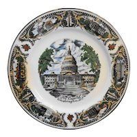 Washington DC Porcelain Souvenir Plate Platinum Trim Full Color
