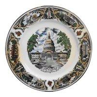 Washington DC Porcelain Souvenir Plate Platinum Trim Full Color