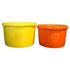Tupperware Servalier Small Canisters Orange Yellow 1297 1298