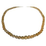 Faceted Citrine Quartz Crystal Necklace Early 20th Century