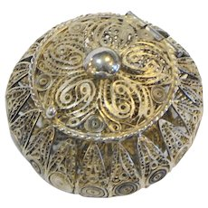 Midcentury Mexican Silver Wire Work Filigree Round Box