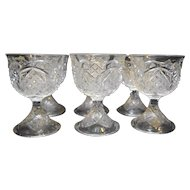 EAPG Sherbets Custards Set of 6 Finecut Button