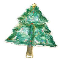 FB Italy Hand Painted Christmas Tree Divided Relish Pottery