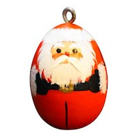 Santa Claus Hand Painted Wood Ornament Pendant Folk Art