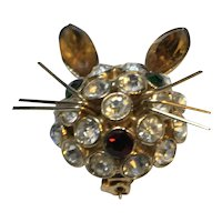 Rhinestone Mouse Pin Crystal Gold Tone