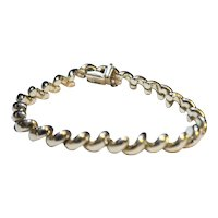 Sterling Silver Italy 925 Curved Chain Bracelet