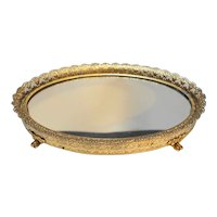 Small Oval Gilt Filigree  Ormolu Dresser Mirror Tray 7 1/2 x 5 5/8