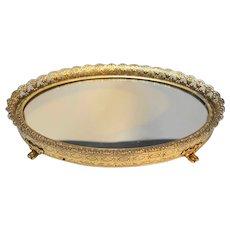 Small Oval Gilt Filigree  Ormolu Dresser Mirror Tray 7 1/2 x 5 5/8
