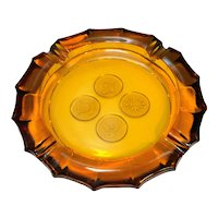 Fostoria Amber Coin Glass Large Double Ashtray 8 IN