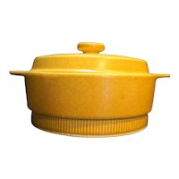 Mustard Brown Speckled Pottery Ribbed Casserole