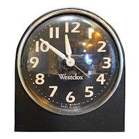 Westclox Wind Up Alarm Clock Bedside Black White Luminous Hands
