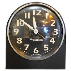 Westclox Wind Up Alarm Clock Bedside Black White Luminous Hands