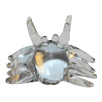 Clichy Signed Clear Glass Crab Figural Paperweight Magnifier