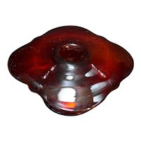 Paden City Crow's Foot Ruby Red Glass Mushroom Style Candle Holder